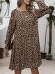 Apricot Swing Printed Cotton-Blend Long Sleeve Dresses