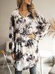 Gray Casual V Neck Paneled Long Sleeve Dresses