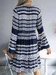 Deep Blue Long Sleeve V Neck Striped Swing Dresses