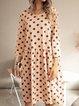 Pink Casual Paneled Cotton-Blend Polka Dots Dresses