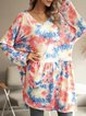 Blue Ombre/tie-Dye Paneled Long Sleeve Cotton-Blend Dresses