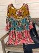 Flower Color 3/4 Sleeve Crew Neck Cotton-Blend Shirt & Top