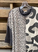 Black Leopard 3/4 Sleeve Shirt & Top