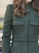 Olive Green Plain Casual Outerwear
