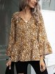 Coffee Cotton-Blend Casual Leopard Shirts & Tops