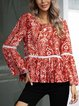 Red Long Sleeve Crew Neck Boho Floral Shirts & Tops