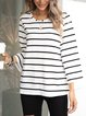 White Paneled Cotton-Blend Long Sleeve Striped Shirts & Tops