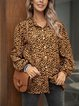 Coffee Casual Leopard Printed Shirts & Tops