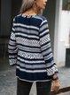 Deep Blue Cotton-Blend Long Sleeve Shirts & Tops
