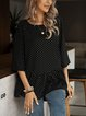 Black Paneled Casual Cotton-Blend Shirts & Tops