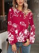 Red V Neck Casual Printed Cotton-Blend Shirts & Tops