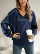 Deep Blue Casual Paneled V Neck Cotton-Blend Shirts & Tops