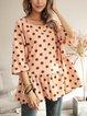 Pink Polka Dots Cotton-Blend Long Sleeve Crew Neck Shirts & Tops