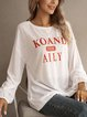 White Letter Crew Neck Long Sleeve Cotton-Blend Shirts & Tops