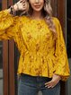 Yellow Cotton-Blend Crew Neck Paneled Long Sleeve Shirts & Tops