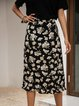 Black Printed Casual Cotton-Blend Floral Skirts