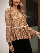 Yellow Paneled Cotton-Blend Floral Long Sleeve Shirts & Tops