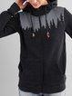 Black Printed Casual Long Sleeve Hoodie Sweatshirt