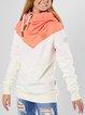 White Color-Block Hoodie Casual Sweatshirt