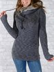 Deep Gray Plain Long Sleeve Hoodie Sweatshirt