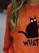 Halloween Funny Murderous Cat Print Casual Sweatshirt