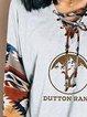 Cuffs Printed V-neck Drawstring Casual Sweatshirt