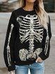 Halloween Printed Crew Neck Long Sleeve Sweatshirt