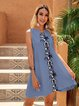 Blue Short Sleeve Plain Crew Neck Paneled Dresses
