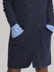 Navy Blue Long Sleeve Cotton-Blend Shawl Collar Sweater