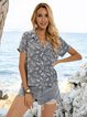 Blue Shawl Collar Floral Buttoned Short Sleeve Shirts & Tops
