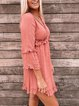Love gift ruffle detail flared sleeve dress coral