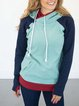 Blue Long Sleeve Color-Block Hoodie Sweatshirt