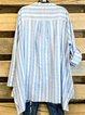 Blue Stripe Print Long Sleeve Shirt