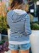 Blue Casual Hoodie Striped Sweatshirt