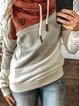 Red Long Sleeve Patchwork Cotton-Blend Sweatshirt
