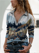 Multicolor V Neck Long Sleeve Casual Cotton-Blend Shirts & Tops