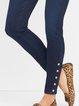 Blue Plain Cotton-Blend Casual Pants