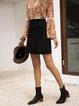 Black Plain Paneled Cotton-Blend Casual Skirts
