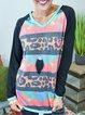 Multicolor Cotton-Blend Long Sleeve Crew Neck Leopard Shirts & Tops