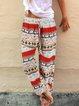 Ethnic Print Lace-Up Pants