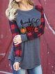 Grateful And Blessed Printed Patchwork Christmas Sweatshirt
