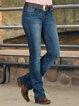 Blue Casual Plain Jeans