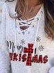 Gray Long Sleeve V Neck Christmas Snowman Shirts & Tops