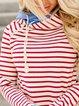 Red Striped Casual Shift Hoodie Sweatshirt