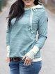 Blue Hoodie Cotton Long Sleeve Sweatshirt