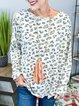 Leopard Casual Crew Neck Cotton-Blend Shirts & Tops