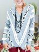 Gray Leopard Long Sleeve V Neck Cotton-Blend Sweater