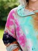 Multicolor Ombre/tie-Dye Cotton-Blend Long Sleeve Shirts & Tops