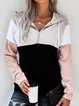 Black Hoodie Color-block Casual Sweatshirt