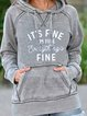 Grey-Blue Long Sleeve Hoodie Letter Shirts & Tops